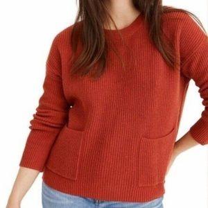 Madewell burnt orange front pocket sweater